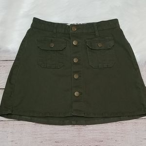 Altar'd State Olive Button Down Skirt